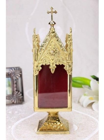 Relicário Trabalhado - Dourado Em Formato De Capela - 28cm