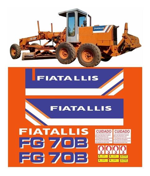 Kit Adesivo Motoniveladora Fiatallis Fg70b + Etiqueta Mk
