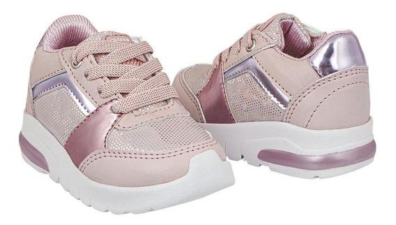 Zapato Tenis Niña Acentos Metálicos Color Rosa Tipo Deportiv