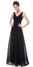 Vestido Fiesta Largo Negro Gasa Talla 6 8 10 12 18 Ep 46