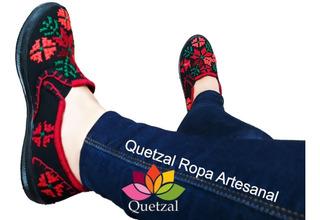 Tenis De Dama Mexicanos Artesanal Típico Bordado Punto Cruz