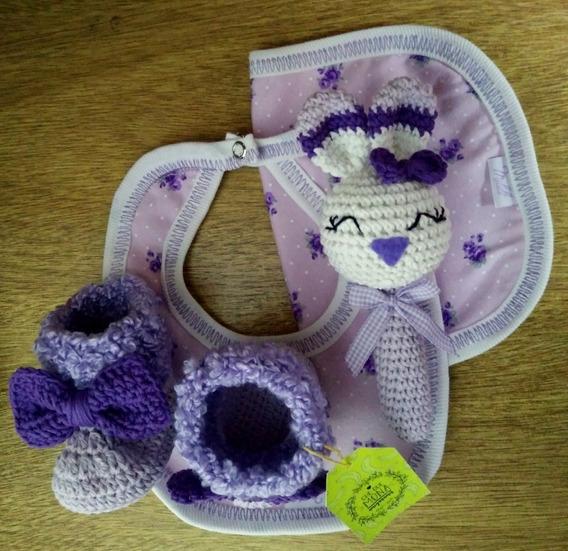 Babero, Babita, Sonajero Y Botas Tejido Al Crochet Amigurumi