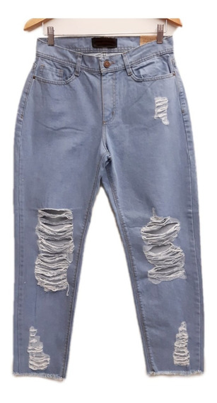 Pantalon Jeans Mom Boyfriend Retro Vintage Rigido Tiro Alto