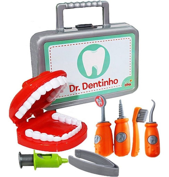 Kit Profissão Dentista Menino Menina Boca Escova Cárie Dente