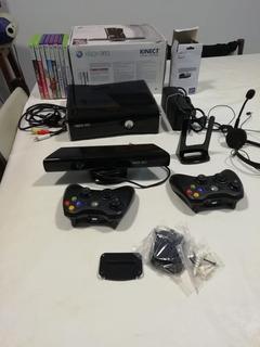 Consola Xbox 360 - Kinect - 2 Joysticks -8 Juegos Originales