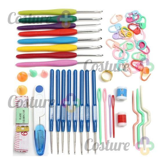 Conjunto C/ Marcadores E Acessórios Para Crochê E 16 Agulhas