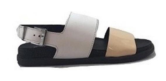 Zapato Mujer Sandalia Natacha Chata Cuero Blanco #205