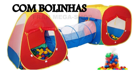 Toca Barraca Infantil 3 Em 1 Com Tunel + 200 Bolinhas