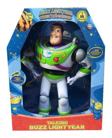 Boneco Buzz Lightyear Toy Story 30cm Fala Inglês Com Laser