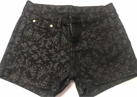 Shorts Carmim, Preto Jeans Encerado, Tam 36