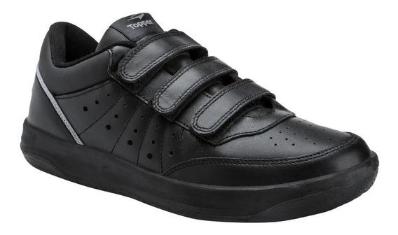 Zapatillas Topper X Forcer Velcro Blanca Negra Cuero Abrojo