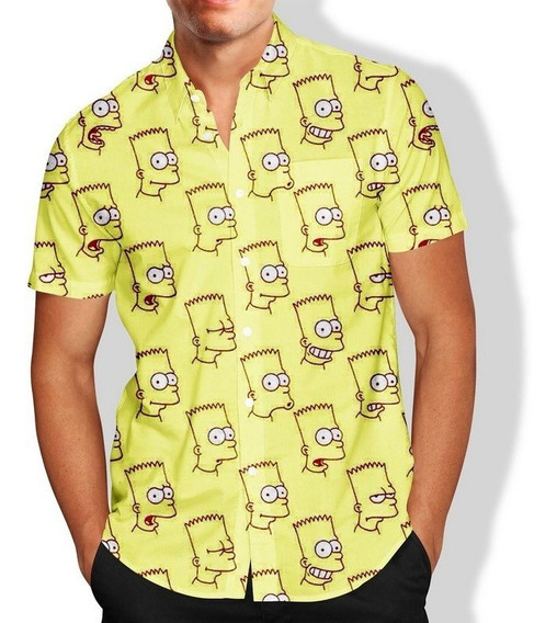 Camisa Masculina Slim Bart Simpson Lançamento R\ 031