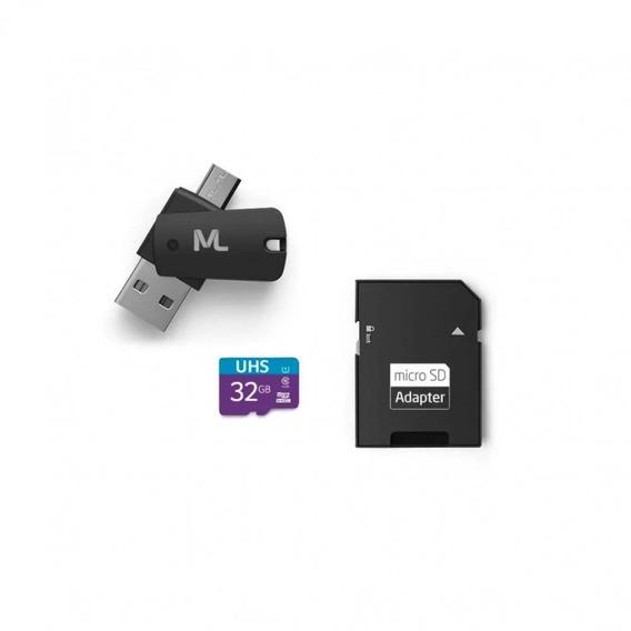 Kit 4 Em 1 Cartão De Memória / Adaptador Usb Sd 32gb