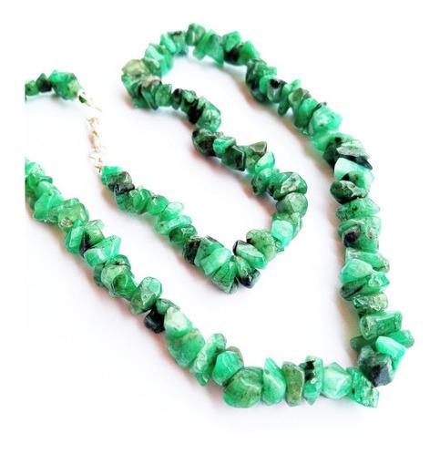 Colar Gargantilha Em Esmeralda Verde Natural Pedra Da Saúde