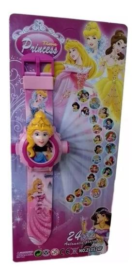 Relógio Das Princesas Projetor De Luz 24 Imagens Infantil