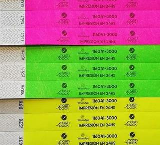 Pulseras Tyvek Identificación Impresas X200u Eventos Bolich
