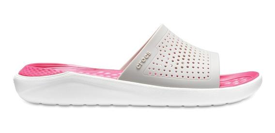 Sandalia Dama Crocs Literide Slide Gris Claro / Rosa