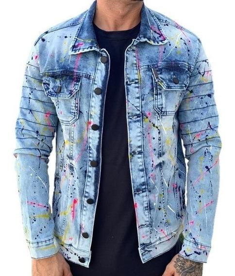 Jaqueta Jeans Slim Fit Com Respingo Destroye Masculina Blusa