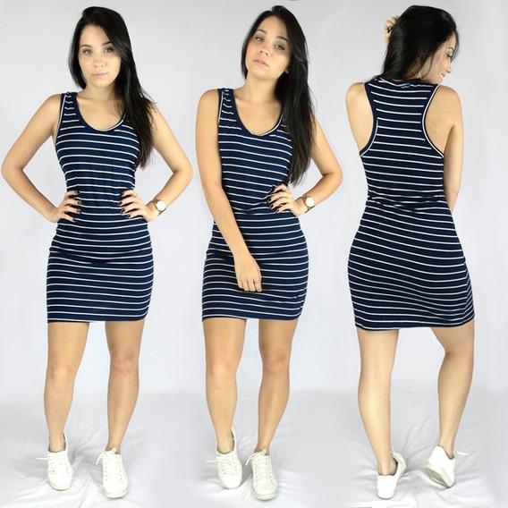 Kit 10 Vestido Curto Regata Listrado Feminino Moda Atacado