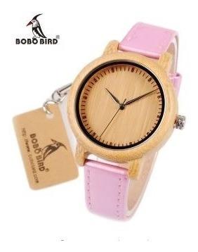 Relógio Feminino Bambu Madeira Analógico Bobo Bird Pink J08