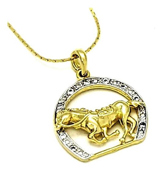 Cordão E Pingente Cravejado Cavalo Ferradura Banho Ouro 3605
