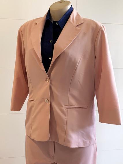 Terninho Feminino Blazer Calça Da Modatual Rosa Tam.46-48