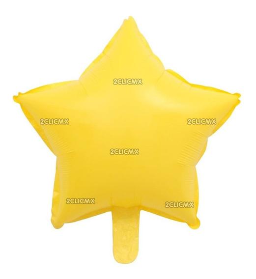 Globos Metalicos Estrella Amarillo Mate 45 Cm Mayoreo Fiesta
