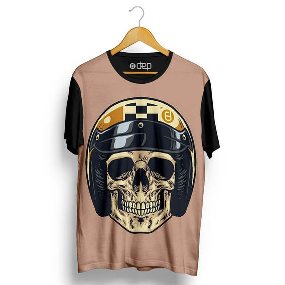 Camiseta Dep Caveira Capacete Bege