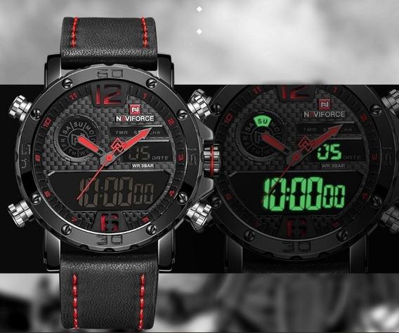 Relógio Masculino Militar Naviforce Pulseitra Couro Top 9134