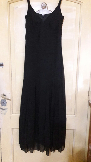 Vestido De Fiesta Gasa Clasico Negro Talle M Liquidacion