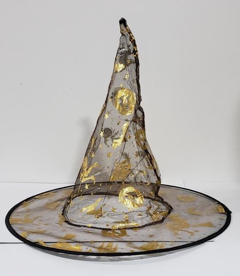 Gorro De Bruja X 12 Estampado Oro/plata