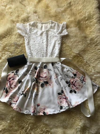 Vestido Infantil Midi Com Faixa De Cetim Com Pérolas