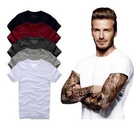 Camisa Slim Fit - Camiseta Básica Lisa - Masculina. Ref: 107