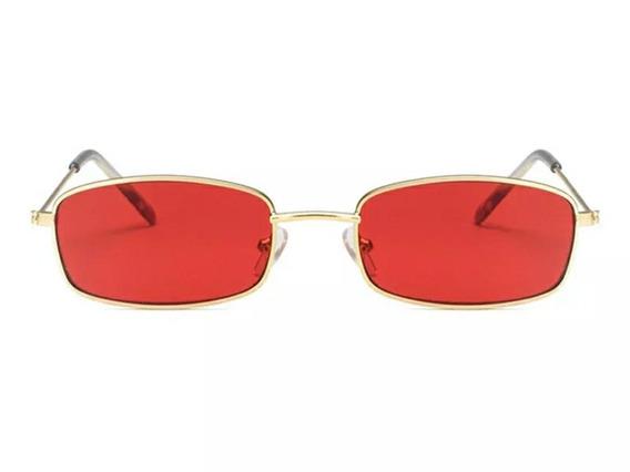 Óculos Sol Quadrado Retangular Vermelho Amarelo Hype Retro