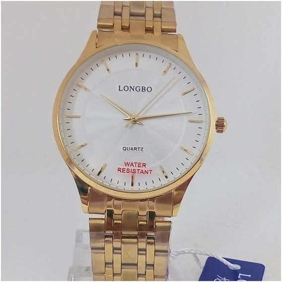 Relógio Masculino Dourado Longbo Quartz Slim Original Vip