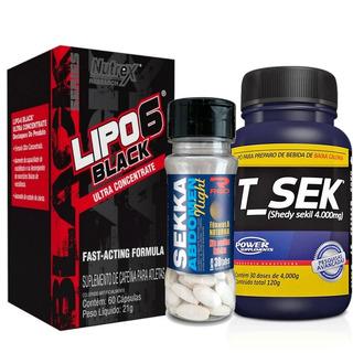 Kit Definição Total Lipo 6 Black + Sekka Nigth + T-sek