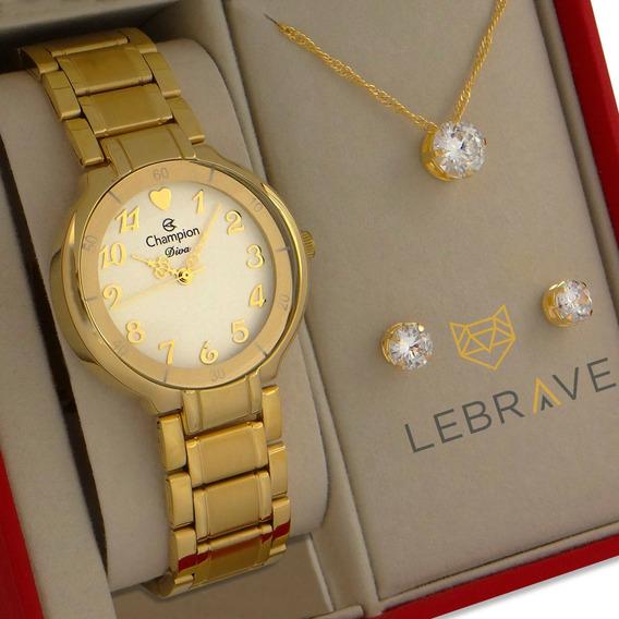 Relógio Champion Feminino Dourado Ouro Prova D