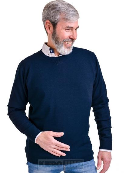 Sweater Hombre Lana Cuello Redondo Saco Fino Azul Kierouno