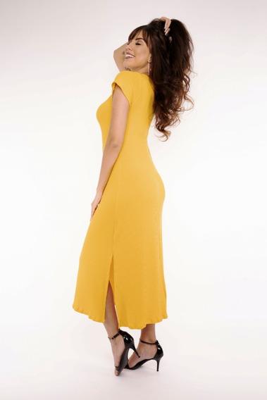 Vestido Longo Canelado Feminino Moda Evangélica Fenda 271