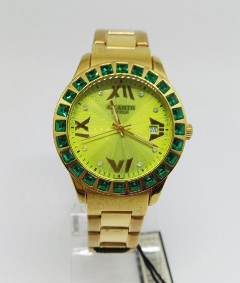 Relógio Atlantis Feminino Pedra Verde