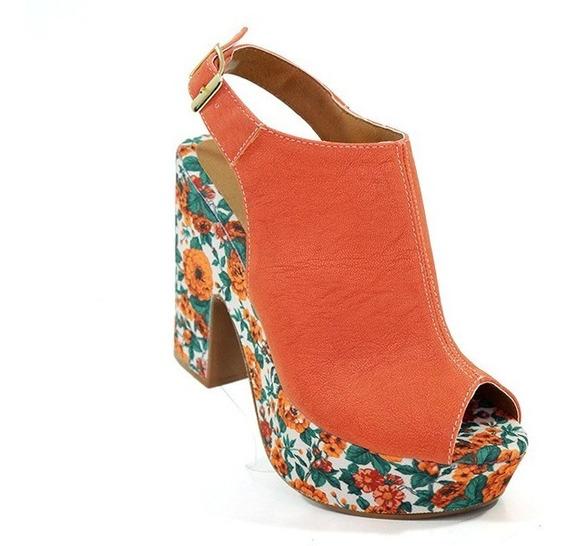 Sandália Feminina Salto Meia Pata Doma Shoes Salmão E Floral
