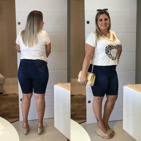 Shorts Bermuda Plus Size Jeans Grande Cintura Alta C/ Lycra