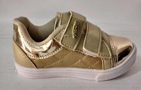 Tênis Infantil Via Vip Velcro Dourado Com Glitter