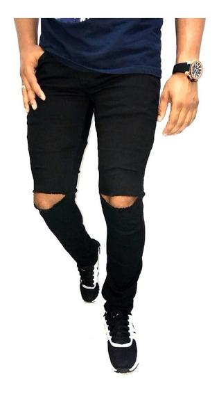 Calça Jeans Masculina Skinny Rasgada Destroyed Slim Lycra