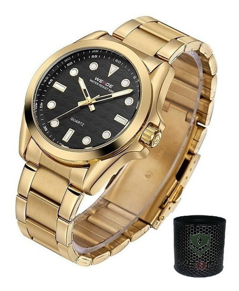 Relógio Masculino Analogico Com 1 Ano De Garantia Prova De Agua Dourado Com Preto Promoção Relogios Casual Masculinos