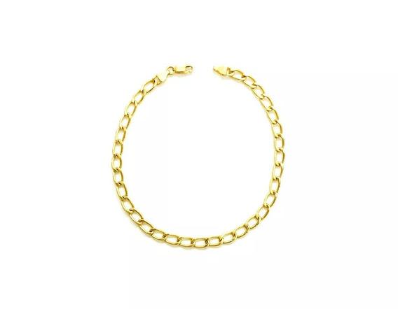 Pulseira Groumet Alongada Em Ouro 18k(750)