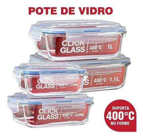 Imagem 1 de 6 de Kit 4 Potes De Vidro Herméticos Alta Qualidade Click Glass