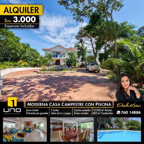 Hermosa Casa Quinta En Alquiler