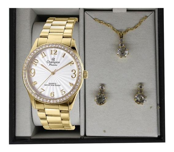 Relógio Champion Feminino Dourado + Kit Colar E Brinco Kit12