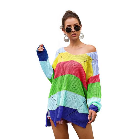 Suéter A Juego De Color Del Arco Iris Suéter Flojo